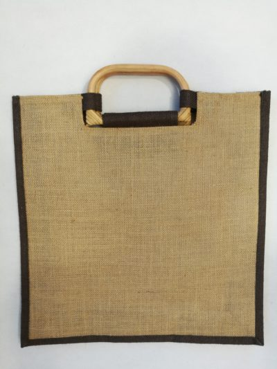 Jute bag with a cane handle