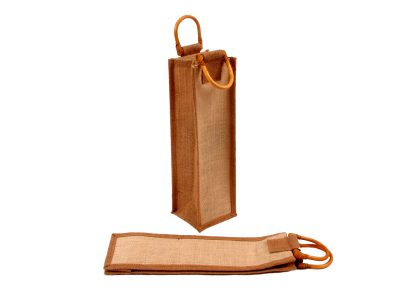 Jute wine bag for one bottle