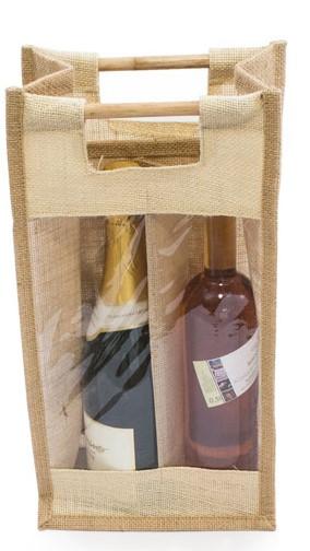 Jute wine bag for two bottles