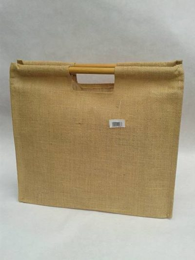 Jute bag with a straight cane handle
