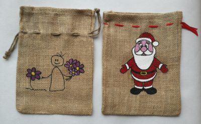 Jute gift pouches - printed